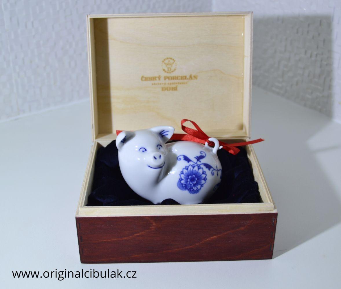 Cibulák prasiatko mini 8 cm cibulový porcelán, originálny cibulák Dubí
