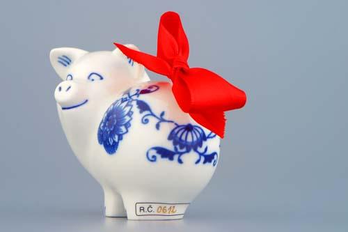 Cibulák prasiatko mini 8 cm cibulový porcelán, originálny cibulák Dubí 1. akosť