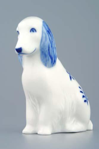 Cibulák pes sediaci 10 x 4 cm cibulový porcelán, originálny cibulák Dubí 1. akosť
