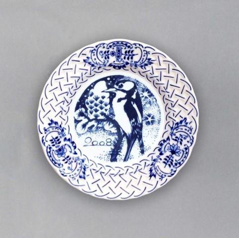 Cibulák tanier závesný reliéfny / výročný 2008 18 cm cibulový porcelán, originálny cibulák Dubí 1. akosť