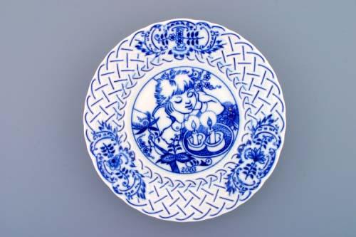 Cibulák tanier závesný reliéfny / výročný 2003 18 cm cibulový porcelán, originálny cibulák Dubí 1. akosť
