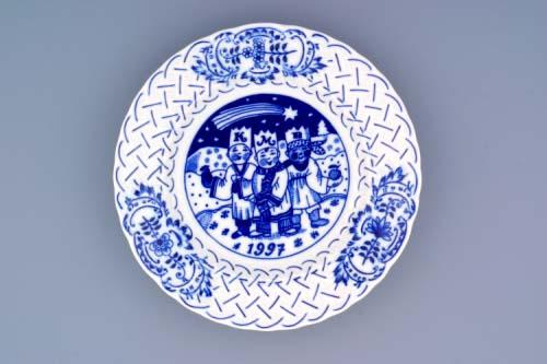 Cibulák tanier závesný reliéfny / výročný 1997 18 cm cibulový porcelán, originálny cibulák Dubí 1. akosť