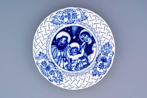 Cibulák tanier závesný reliéfny / výročný 1996 18 cm cibulový porcelán, originálny cibulák Dubí 1. akosť