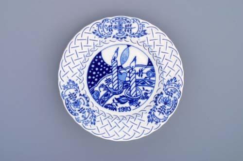 Cibulák tanier závesný reliéfny / výročný 1993 18 cm cibulový porcelán, originálny cibulák Dubí 1. akosť