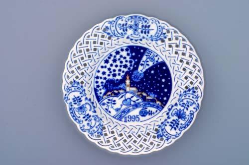 Cibulák tanier závesný prelamovaný / výročný 1995 18 cm cibulový porcelán, originálny cibulák Dubí 1. akosť