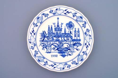 Cibulák tanier závesný plytký / výročný 1992 24 cm cibulový porcelán, originálny cibulák Dubí 1. akosť