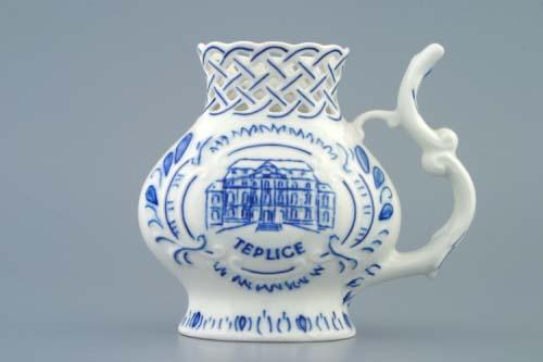 Cibulák pohárik kúpeľný, prelamovaný / Teplice 12 cm cibulový porcelán, originálny cibulák Dubí 1. akosť