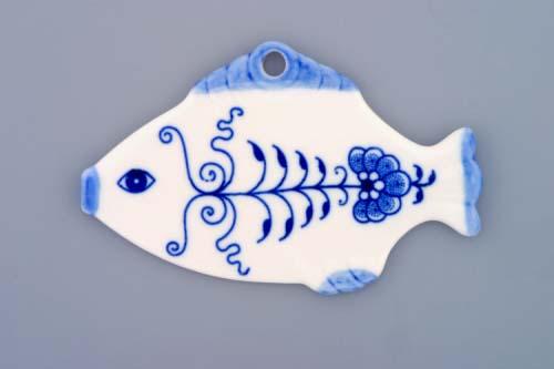 Cibulák vianočná ozdoba rybyčka 11 x 7 cm cibulový porcelán,originálny cibulák Dubí, 1. akosť