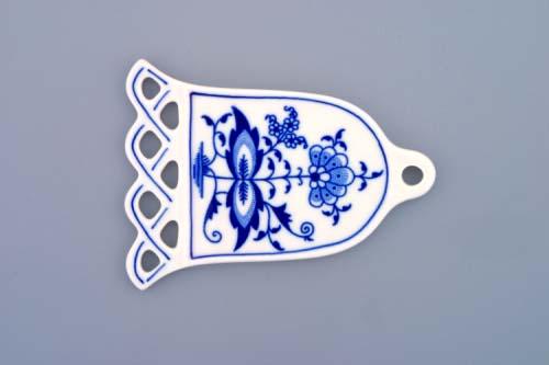 Cibulák vianočná ozdoba / obojstranná - zvonček 10,5 x 8 cm cibulový porcelán, originálny cibulák Dubí 1. akosť