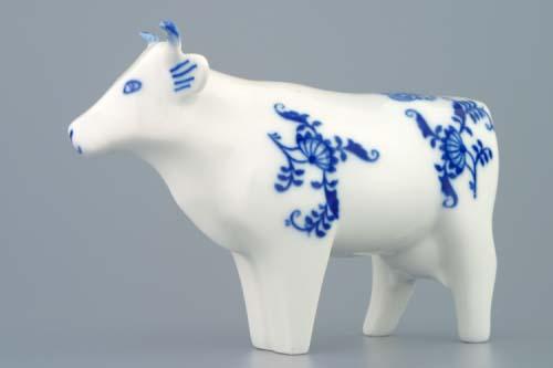 Cibulák kravička stojaci 14,5 x 10 cm cibulový porcelán, originálny cibulák Dubí 1. akosť