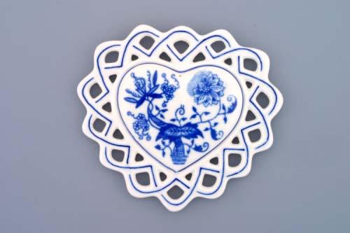 Cibulák vianočná ozdoba / obojstranná - srdiečko 10 cm cibulový porcelán, originálny cibulák Dubí 1. akosť