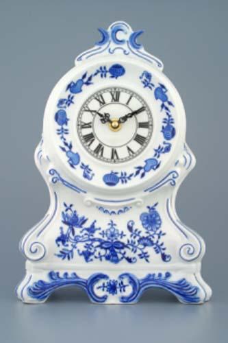Cibulák hodiny bez ruží 28 x 18 x 9 cm so strojčekom cibulový porcelán, originálny cibulák Dubí 1. akosť