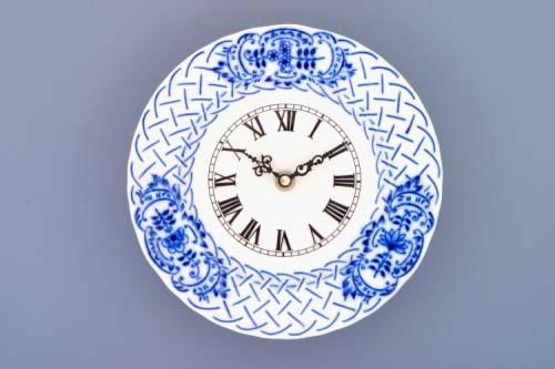 Cibulák hodiny reliéfne so strojčekom 18 cm cibulový porcelán, originálny cibulák Dubí, 1. akosť