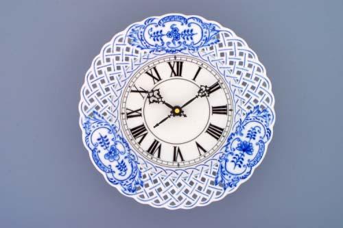Cibulák hodiny mriežkované so strojčekom 24 cm cibulový porcelán, originálny cibulák Dubí, 1. akosť