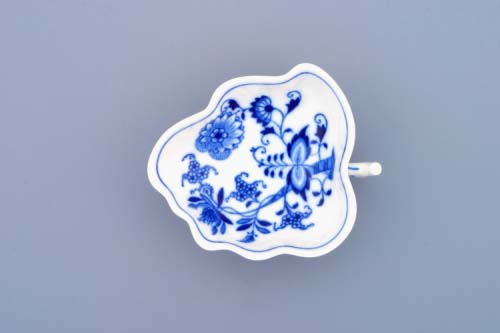 Cibulák cukornička list na nôžkach 10,8 cm cibulový porcelán, originálny cibulák Dubí, 1. akosť