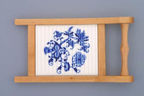AKCIA - 10% Cibulák valcha mini s dreveným rámčekom cibulový porcelán, originálny cibulák Dubí 1. akosťubí 1.jakost'