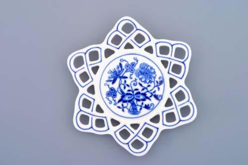AKCIE-20%cibuľáková vianočná ozdoba vločka 10,4 cm cibuľový porcelán, originálny cibuľák Dubí,1. akosť