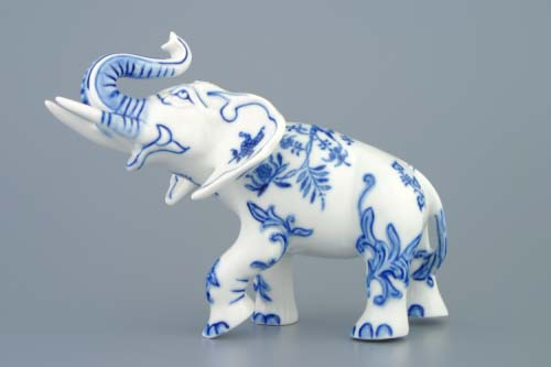 Cibulák slon II - bohatá dekorácia 18 cm cibulový porcelán, originálny cibulák Dubí 1. akosť