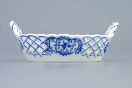 cibulákový košík prelamovaný 17 x 11 cm cibulový porcelán, originálny cibulák Dubí 1. akosť