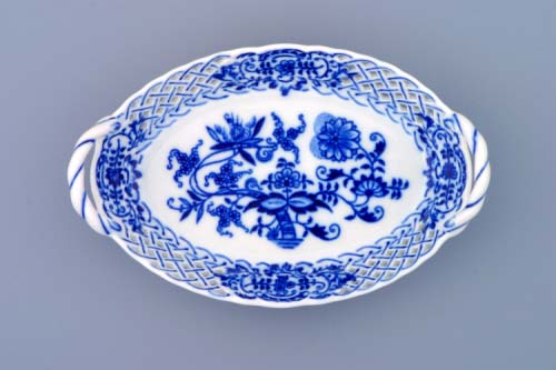 Cibulák košík prelamovaný 17 cm cibulový porcelán, originálny cibulák Dubí,1. akosť