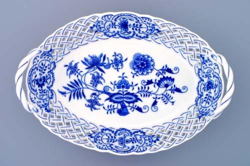 Cibulák košík prelamovaný 28 x 19 cm cibulový porcelán, originálny cibulák Dubí 1. akosť
