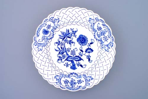 Cibulák tanier reliéfny 27 cm cibulový porcelán, originálny cibulák Dubí 1. akosť