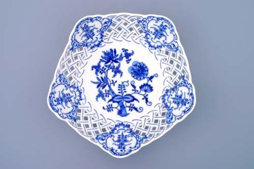 Cibulák misa päťhranná prelamovaná 24 cm cibulový porcelán, originálny cibulák Dubí