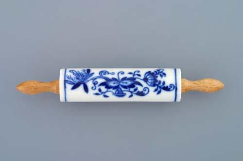 Cibulák valček mini s drevenou rukoväťou cibulový porcelán, originálny cibulák Dubí 1. akosť