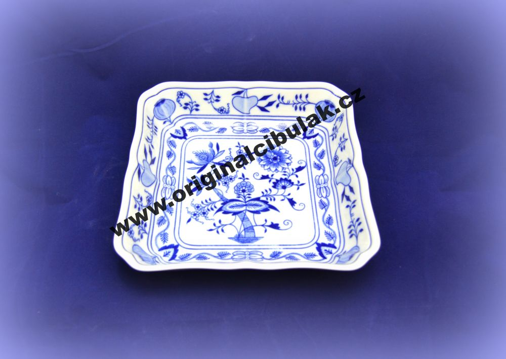 Cibulák misa šalátová štvorhranná 21 cm cibulový porcelán, originálny cibulák Dubí 1. akosť