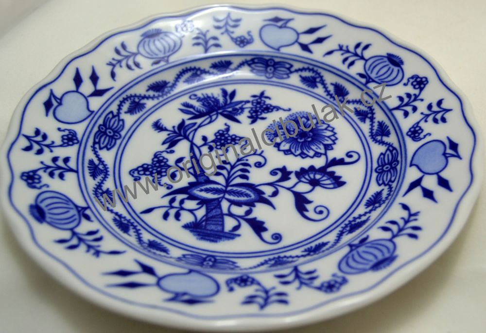 Cibulák tanier dezertný 17 cm cibulový porcelán, originálny cibulák Dubí 1. akosť