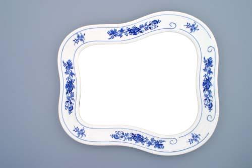 Cibulák zrkadlo s rámom / závesné 40 x 37 cm cibulový porcelán, originálny cibulák Dubí 1. akosť