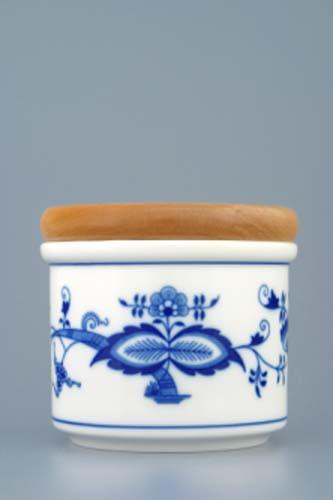 Cibulák dóza s dreveným uzáverom A malá¨9,7 cm cibulový porcelán, originálny cibulák Dubí, 1. akosť