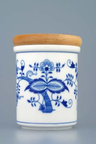 Cibulák dóza s dreveným uzáverom B stredná 8,2 cm cibulový porcelán, originálny cibulák Dubí, 1. akosť