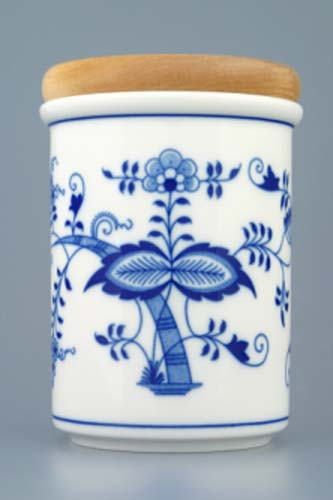 Cibulák dóza s dreveným uzáverom C veľká 9,7 cm cibulový porcelán, originálny cibulák Dubí, 1. akosť