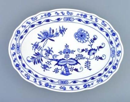 Cibulák tanier oválny 34,7 cm cibulový porcelán, originálny cibulák Dubí