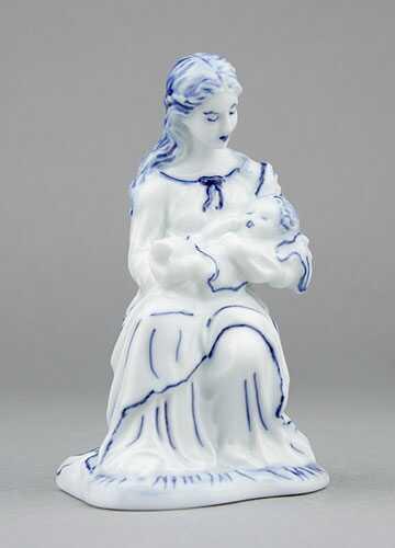 Cibulák soška Panna Mária 12 cm cibulový porcelán, originálny cibulák Dubí 1. akosť