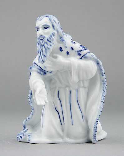 Cibulák kráľ Melichar 11,5 cm cibulový porcelán, originálny cibulák Dubí 1. akosť
