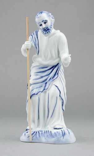 Cibulák soška - Svätý Jozef s palicou 15,5 cm cibulový porcelán, originálny cibulák Dubí 1. akosť