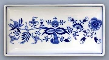Cibulák tanier na ryby obdĺžnikový 24,7 x 12,7 cm cibulový porcelán, originálny cibulák Dubí 1. akosť