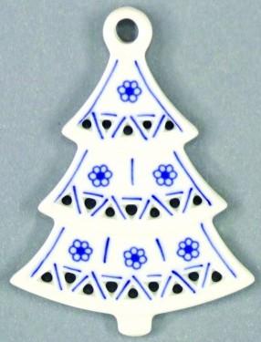 Cibulák vianočná ozdoba / obojstranná-stromček prelamovaný 8,5 x 6,3 cm cibulový porcelán, originálny cibulák Dubí 1. akosť