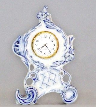 AKCIA -10% Cibulak hodiny Vlasta so strojčekom 12,6 cm cibulový porcelán, originálny cibulák Dubí, 1. akosť