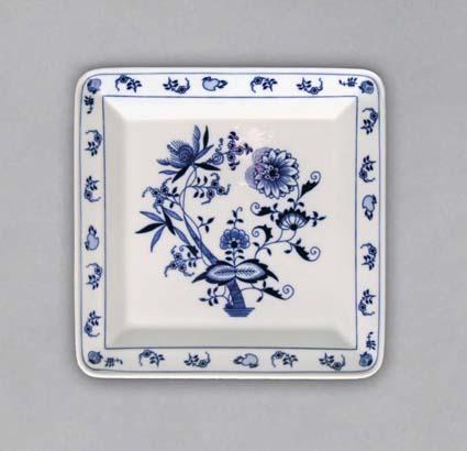 Cibulák tanier štvorhranný 21,5 x 21,5 cm cibulový porcelán, originálny cibulák Dubí 1. akosť