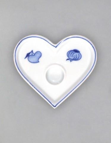 Cibulák svietnik plochý, srdiečko 9,2 cm cibulový porcelán, originálny cibulák Dubí 1. akosť