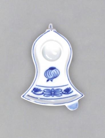 Cibulák svietnik plochý, zvonček 8,7 x 6,8 x 2,2 cm cibulový porcelán, originálny cibulák Dubí 1. akosť