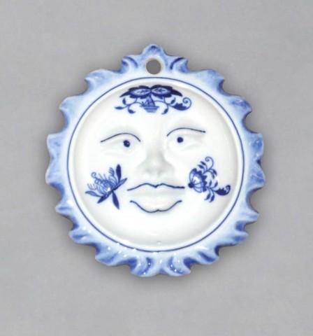 Cibulák vianočná ozdoba / obojstranná - slniečko 10 cm cibulový porcelán, originálny cibulák Dubí 1. akosť