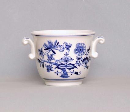 Cibulák kvetináč malý s uškami 13 cm cibulový porcelán, originálny cibulák Dubí 1. akosť