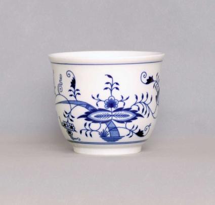 Cibulák kvetináč malý bez ušok 13 cm cibulový porcelán, originálny cibulák Dubí 1. akosť