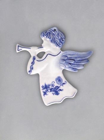 Cibulák vianočná ozdoba / obojstranná - anjel s trumpetou 8,8 x 9,5 cm hladký, záves cibulový porcelán, originálny cibulák Dubí 1. akosť
