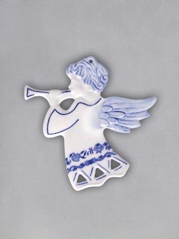Cibulák vianočná ozdoba / obojstranná - anjel s trumpetu 8,8 x 9,5 cm prelamovaný, záves cibulový porcelán, originálny cibulák Dubí 1. akosť