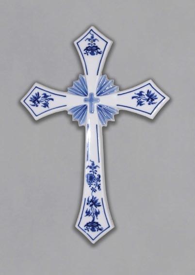Cibulák Svätý kríž závesný 30,6 cm cibulový porcelán, originálny cibulák Dubí, 1 akosť